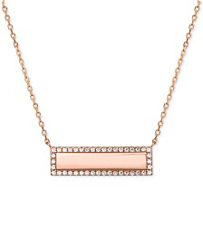 """Cubic Zirconia Pavé Bar Pendant Necklace in 18k Rose Gold-Plated Sterling Silver, 16"""" + 2"""" extender"""