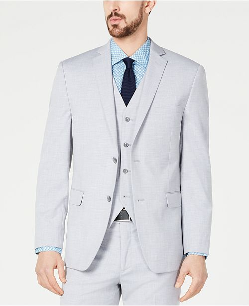 Alfani Men's Slim-Fit Performance Stretch Wrinkle-Resistant Light Gray Suit Jacket, Created for Macy's