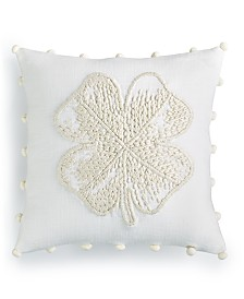 "Lucky Brand Clover 18"" Square Decorative Pillow, Created for Macy's"