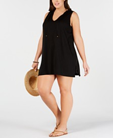 Miken Plus Size Sleeveless Hooded Cover-Up Dress