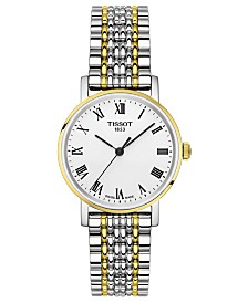 Tissot Women's Swiss T-Classic Everytime Two-Tone PVD Stainless Steel Bracelet Watch 30mm