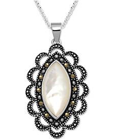 "Marcasite & Mother-of-Pearl Antique-Look 18"" Pendant Necklace in Fine Silver-Plate"