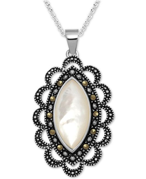 """Macy's Marcasite & Mother-of-Pearl Antique-Look 18"""" Pendant Necklace in Fine Silver-Plate"""