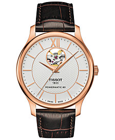 Tissot Men's Swiss Automatic T-Classic Tradition Brown Leather Strap Watch 42mm