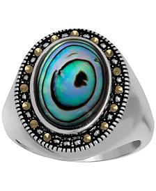 Marcasite & Paua Shell Ring in Fine Silver-Plate