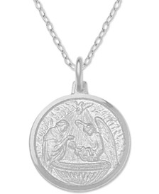 "Baptism Medallion 18"" Pendant Necklace in Sterling Silver"