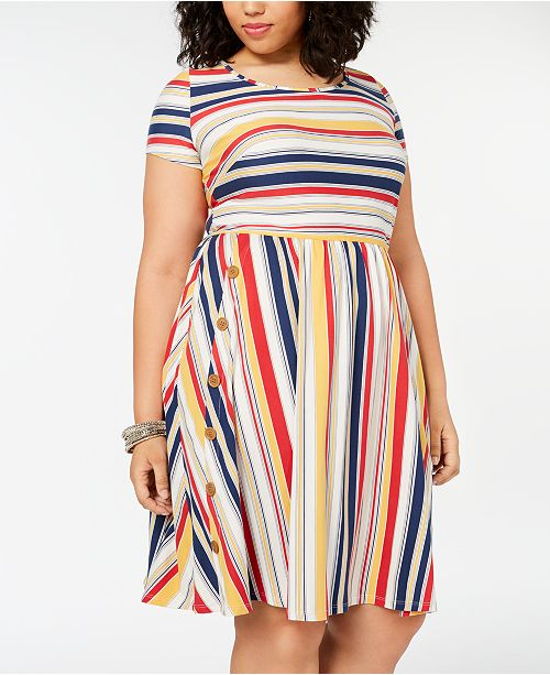 4234e536cb9 Love Squared Plus Size Striped Fit   Flare Dress   Reviews - Trendy ...