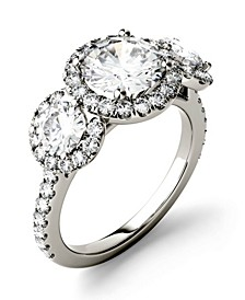 Moissanite Three Stone Halo Ring (3 ct. t.w. Diamond Equivalent) in 14k White Gold