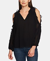 b6438ea460194 1.STATE Ruffled Cold-Shoulder Blouse
