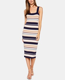 Bardot Striped Midi Bodycon Dress