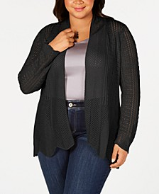 Belle by Plus Size Scalloped-Hem Open-Front Cardigan