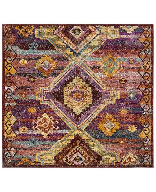 Safavieh Savannah Red and Violet 7' x 7' Square Area Rug