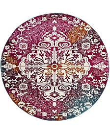 """Watercolor Ivory and Fuchsia 6'7"""" x 6'7"""" Round Area Rug"""
