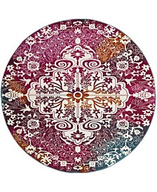 "Safavieh Watercolor Ivory and Fuchsia 6'7"" x 6'7"" Round Area Rug"