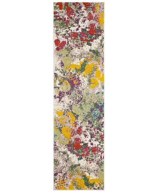 """Safavieh Watercolor Light Green and Rose 2'2"""" x 8' Runner Area Rug"""