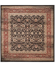 """Vintage Black and Rust 6'7"""" x 6'7"""" Square Area Rug"""