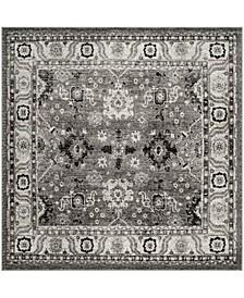 "Vintage Hamadan Gray and Black 6'7"" x 6'7"" Square Area Rug"