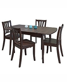 CorLiving 5pc Extendable Stained Solid Wood Dining Set