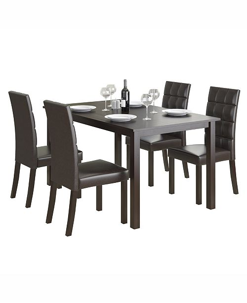 """CorLiving 5pc 55"""" Wide Dining Set, with Leatherette Seats"""
