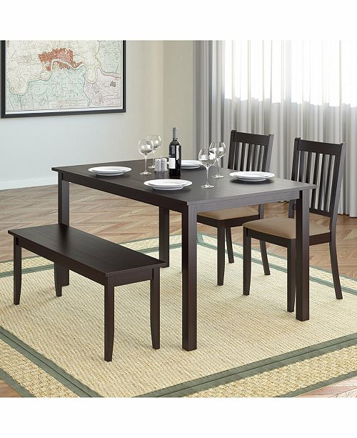 Admirable Corliving 4Pc 55 Wide Dining Set With Stained Bench And Set Of Chairs Theyellowbook Wood Chair Design Ideas Theyellowbookinfo