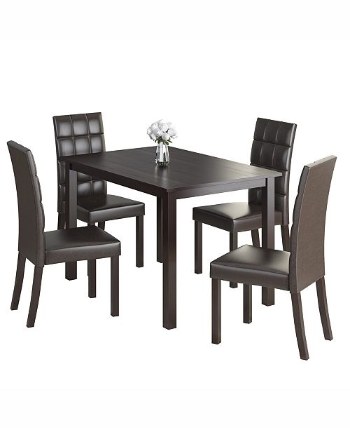 """CorLiving 5pc 43"""" Wide Dining Set, with Leatherette Chairs"""