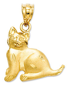 14k Gold Charm, Cat Charm