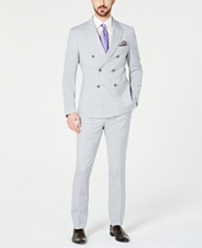 Tallia Orange Men's Slim-Fit Stretch Heather/Gray Mélange Double-Breasted Suit