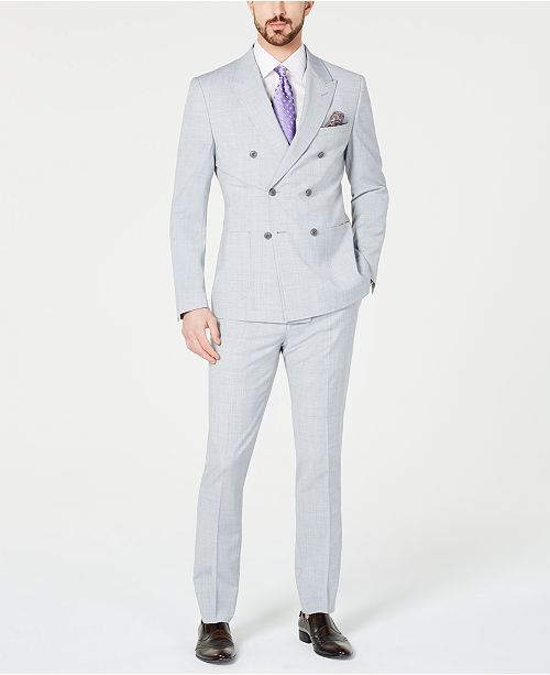 Smokings Slim HeatherGrey pour double clair Gris Homme boutonnagecommentaires Orange Fit a Tallia Costumes homme Costume eYDHIE29bW