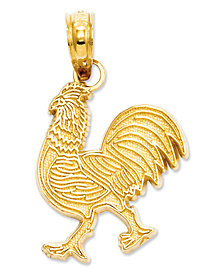 14k Gold Charm, Rooster Charm