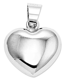 14k White Gold Charm, Puffed Heart Charm