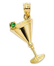 14k Gold Charm, Green Cubic Zirconia Accent Martini Glass Charm