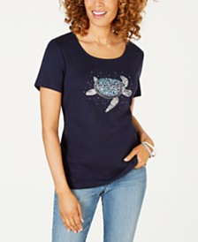 Karen Scott Cotton Turtle-Print Top, Created for Macy's