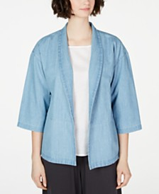 Eileen Fisher Organic Cotton Open-Front Jacket, Created for Macy's