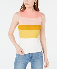 Bar III Striped Sleeveless Sweater, Created for Macy's