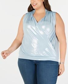 I.N.C. Plus Size Sleeveless Surplice Shine Top, Created for Macy's