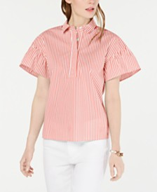 Tommy Hilfiger Striped Flutter-Sleeve Top