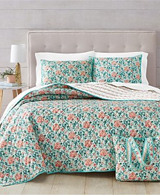 Martha Stewart Essentials Spring Floral 3-Pc. Twin/Twin XL Quilt and Tote Bag Set, Created for Macy's