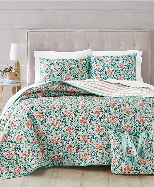 Martha Stewart Collection Spring Floral 4-Pc. King Quilt and Tote Bag Set, Created for Macy's