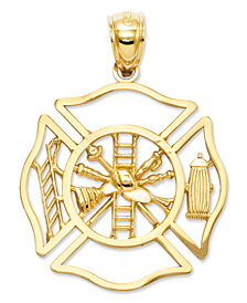 14k Gold Charm, Fireman Shield Charm