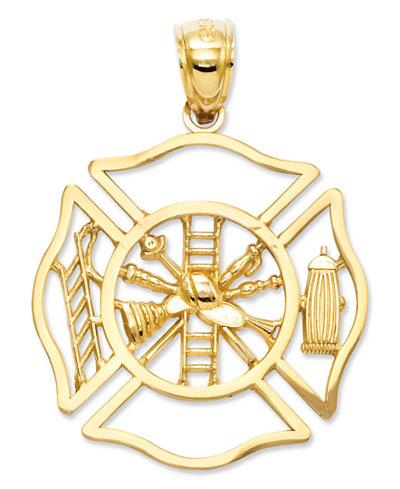 14k Gold Charm, Fireman Shield Charm