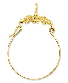 14k Gold Charm Holder, Polished Floral Charm Holder