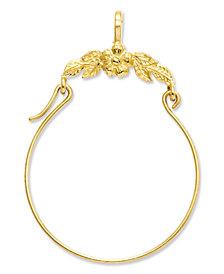 14k Gold Charm Holder, Polished Floral Charm Holder