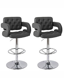 Corliving Adjustable Tufted Dark Bonded Leather Barstool with Armrests, Set of 2