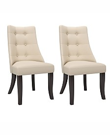 Corliving Button Tufted Dining Accent Chairs, Set of 2
