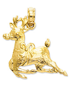14k Gold Charm, Polished Reindeer Charm