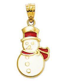 14k Gold Charm, Red and White Snowman Charm