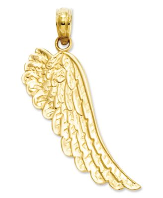 14k Solid Gold Gold Two-level Angel Wing Charm Charm America Jewelry