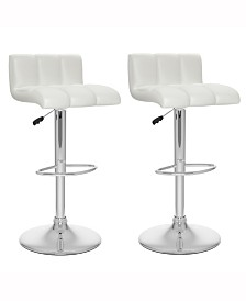 Corliving Tufted Low Back Adjustable Barstool in Leatherette, Set of 2