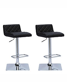 Adjustable Diamond Tufted Barstool in Bonded Leather, Set of 2
