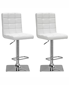 Adjustable Square Tufted Barstool in Bonded Leather, Set of 2